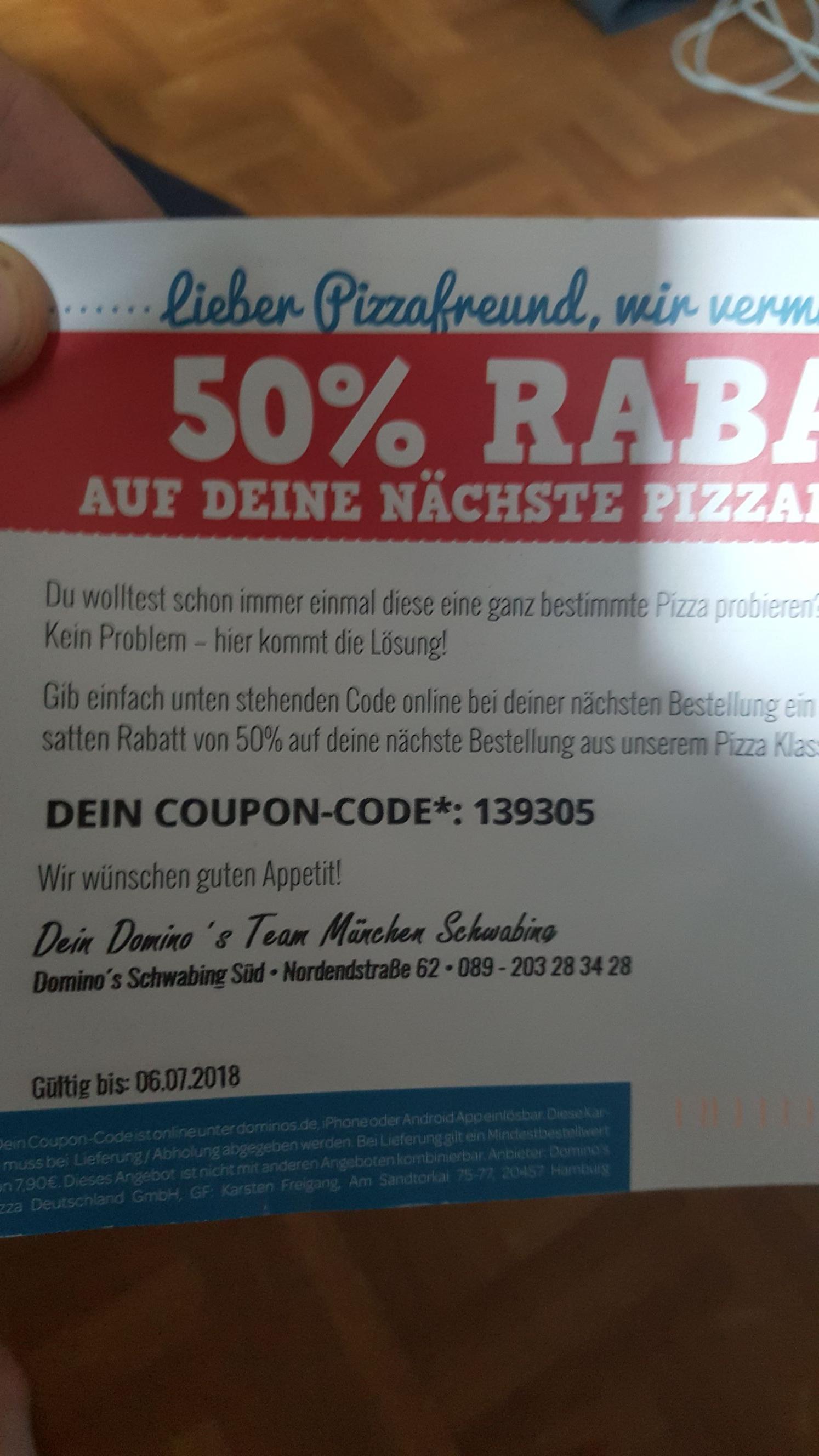Dominos München Schwabing Lokal Pizza Klassiker 50 Prozent