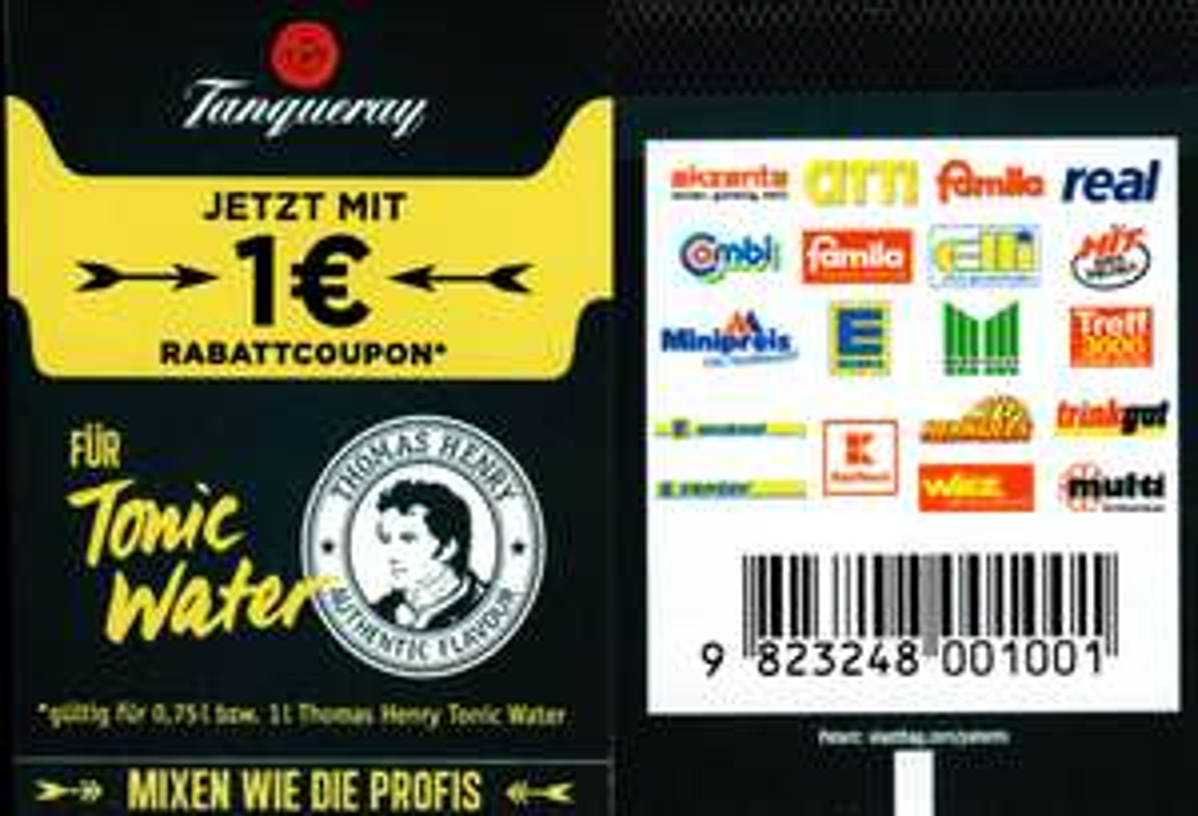 Neuer -1,00€ Coupon für 1x Tanqueray 0,7l + 1x Thomas Henry Tonic Water 0,75l/1,0l bis 31.08.2018