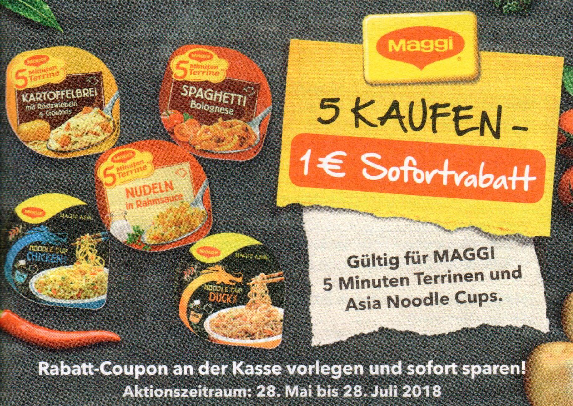 1,00€ Coupon für den Kauf von 5x Maggi 5 Minuten Terrine oder 5x Asia Noodle Cup bis 28.07.2018