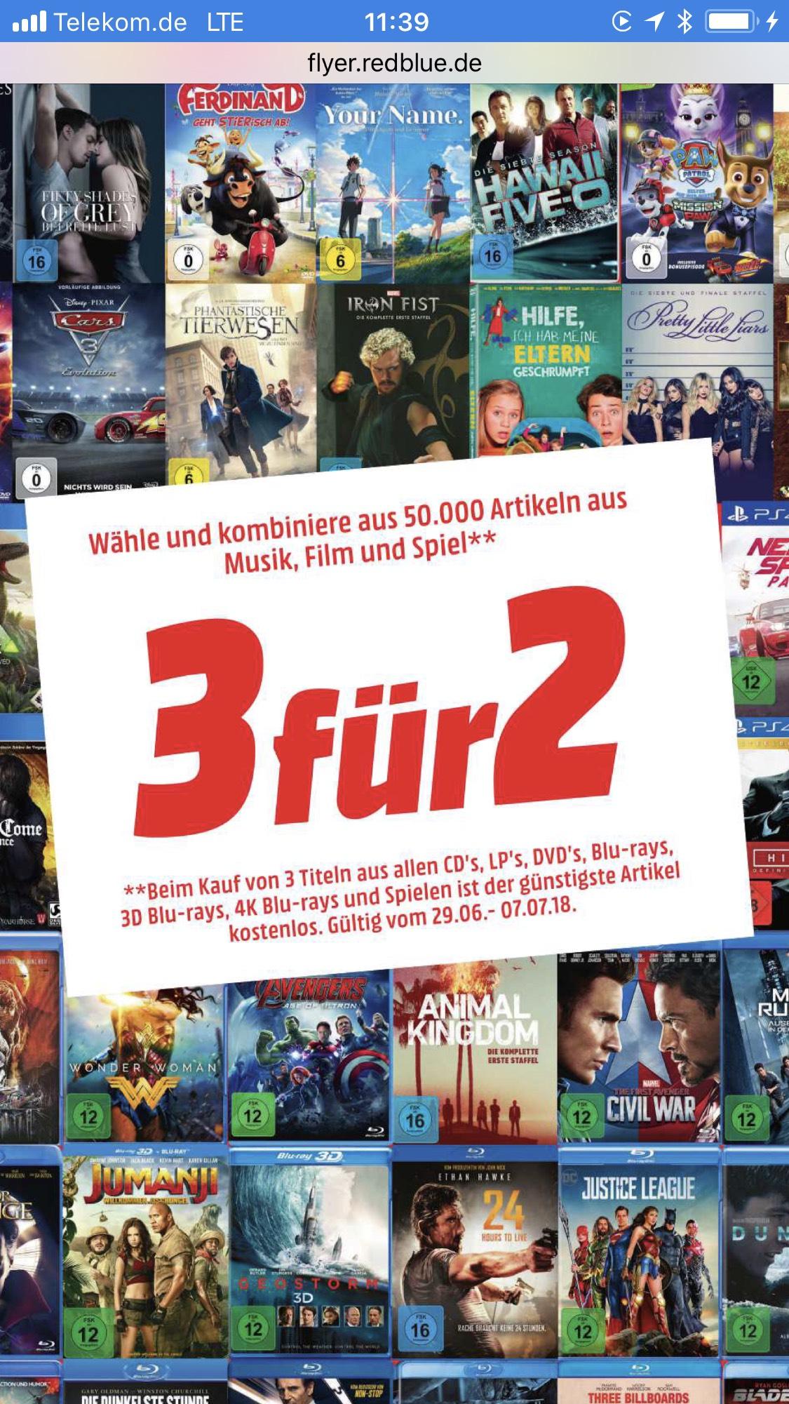 3 für 2 Aktion für Games, DVDs , Blurays, 4K Blurays/ Mülheim an der Ruhr / LOKAL