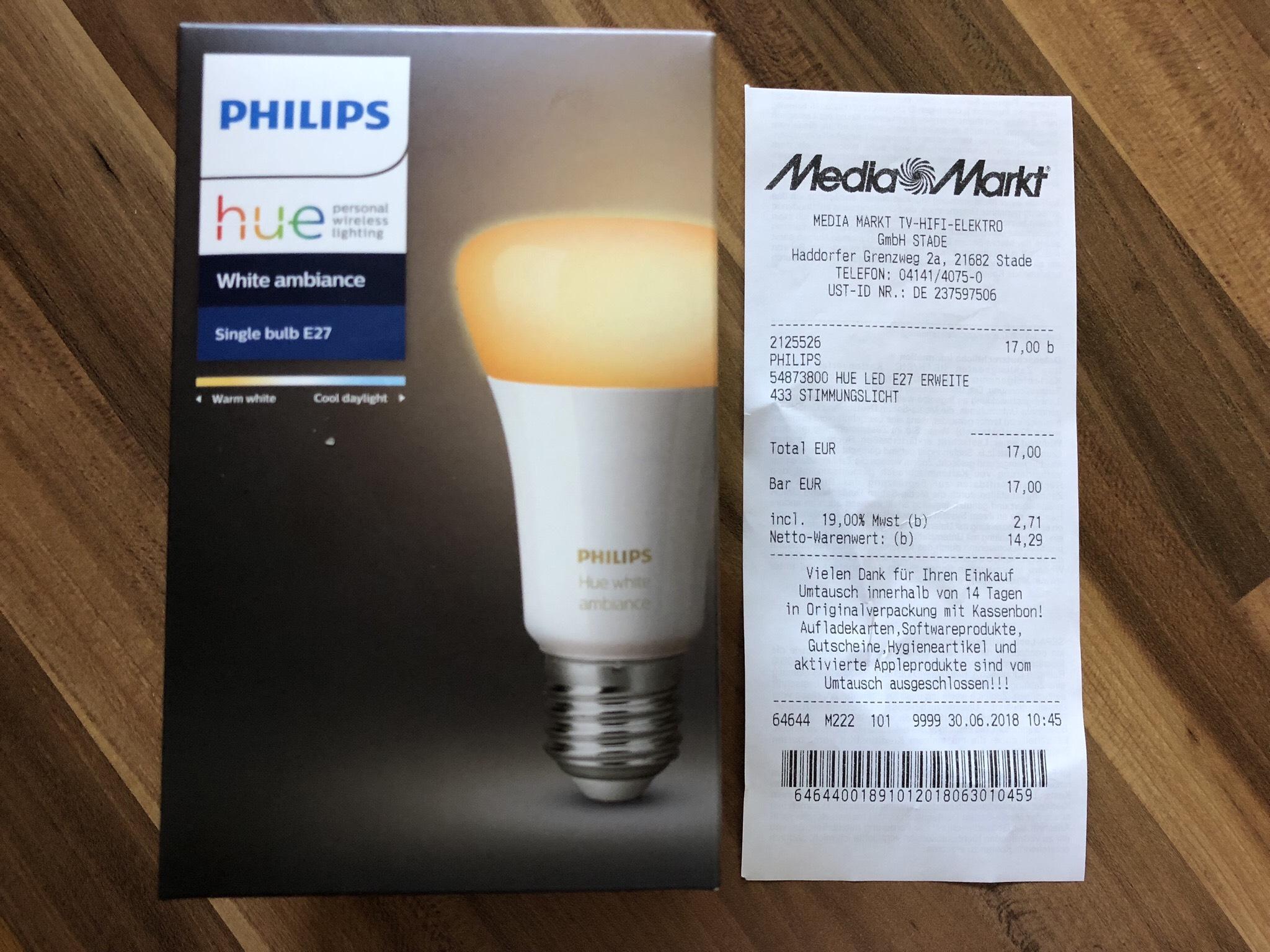 [Lokal MediaMarkt Stade] Philips Hue white ambiance E27 & GU10