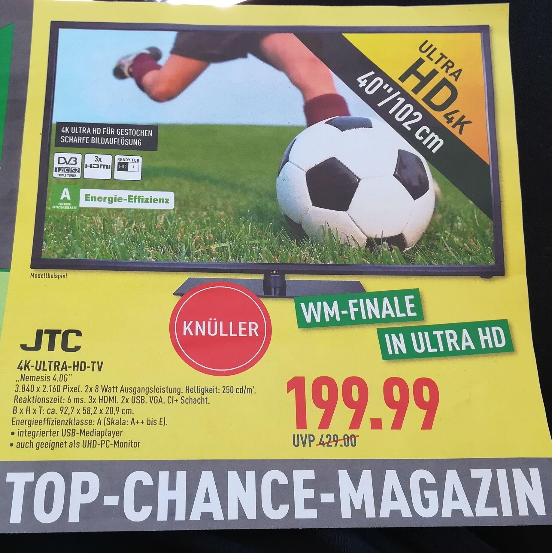 "JTC Nemesis 4.0G TV mit Triple Tuner (4K / 40"" / DVB-T2) @Marktkauf Iserlohn-Wermingsen"