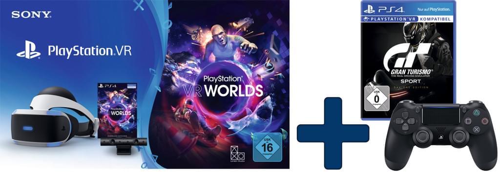 Sony PlayStation VR Brille inkl. Kamera, VR Worlds Voucher + DualShock 4 Controller + Gran Turismo Sport für 274€ [Real]