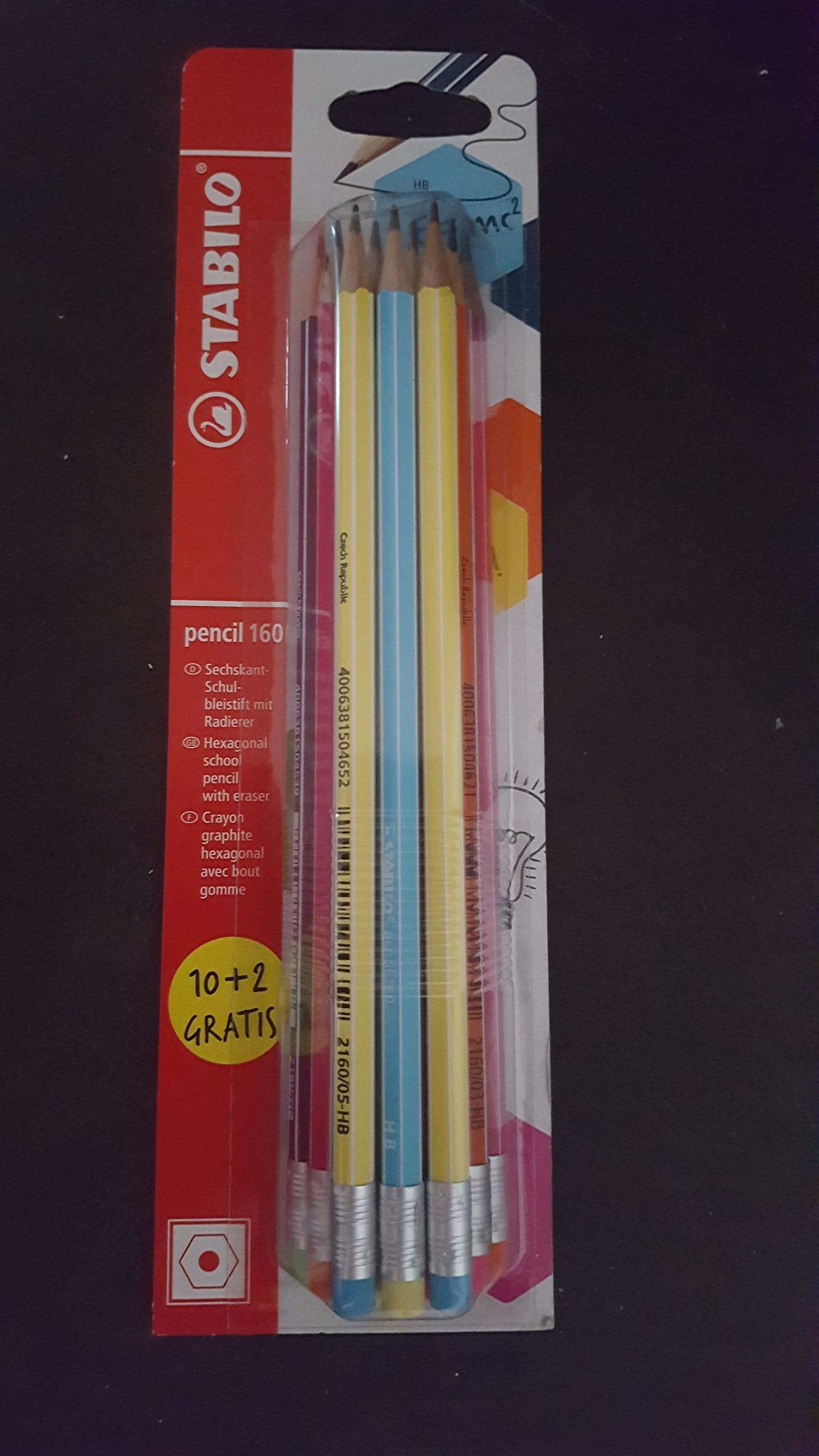 Stabilo Bleistifte 10+2 Stück mit Radierer, Pencil 160 (Metro)