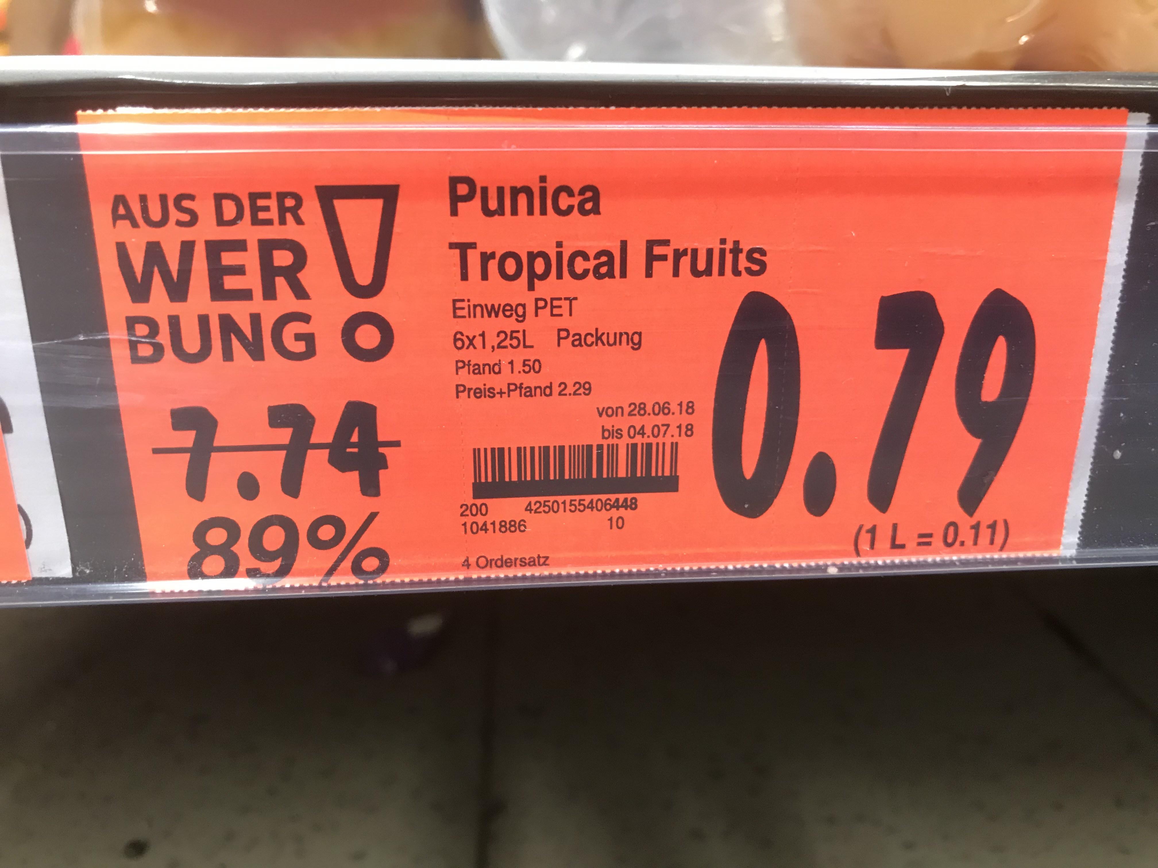 (Kaufland Rüsselsheim) 6 x 1,25 L Punics € 0,79 (89 % reduziert)