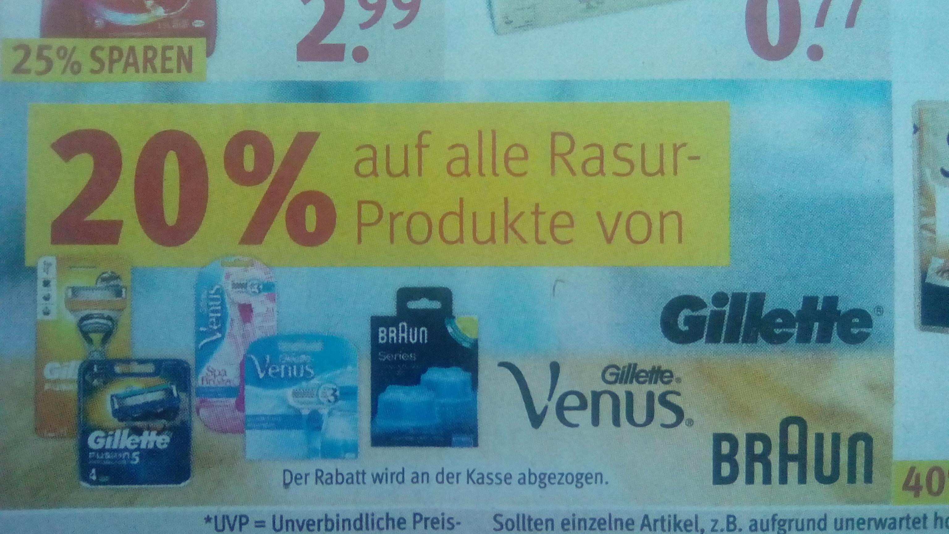 20% Rabatt auf Gillette, Braun und andere Rasurprodukte bei Rossmann [offline]