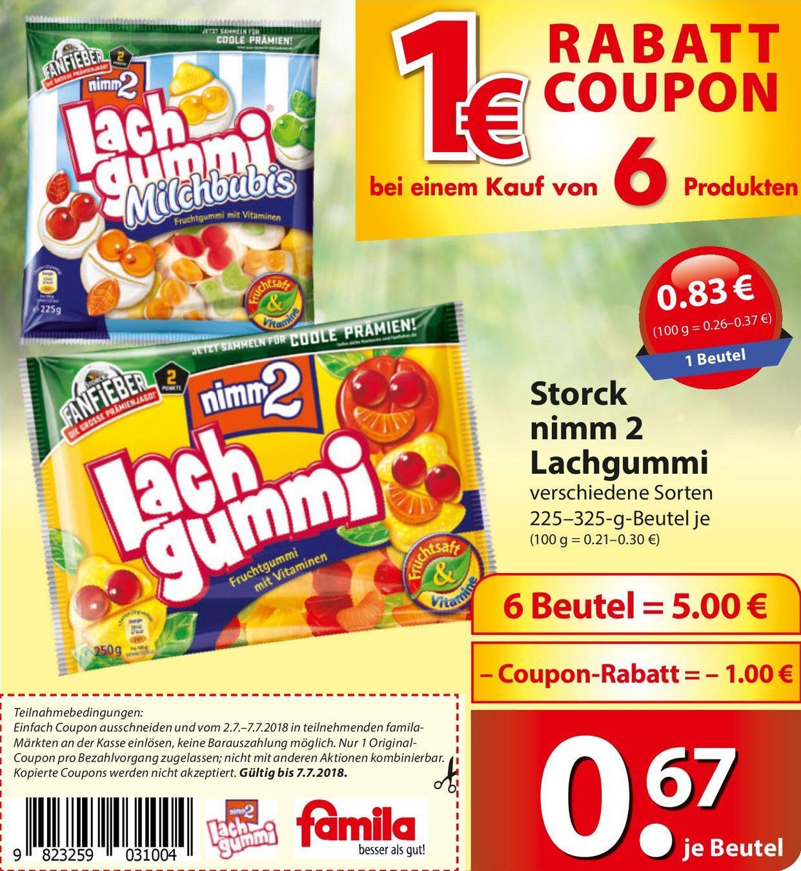 [ Nord-Deutschland ] 6 Beutel nimm2 Lachgummi für 4€ (entspricht 0,67€ pro Beutel) - Multikauf @ famila Nordost