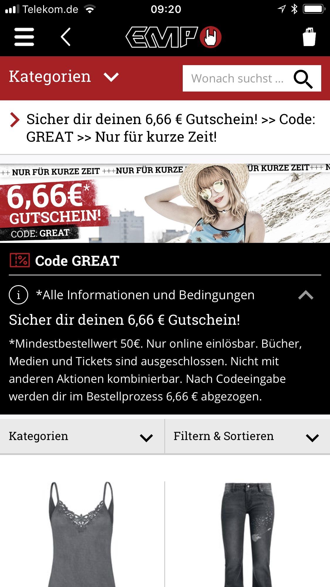 EMP 6,66€ Gutschein / NUR ONLINE / MBW 50€ / Merch, Klamotten, Funkos etc.