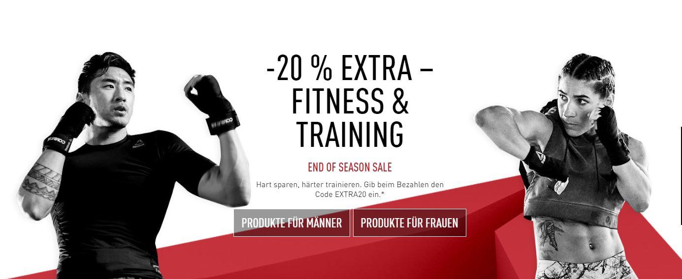 [reebok] end of season sale (+20& auf Sales Fitness und Training)