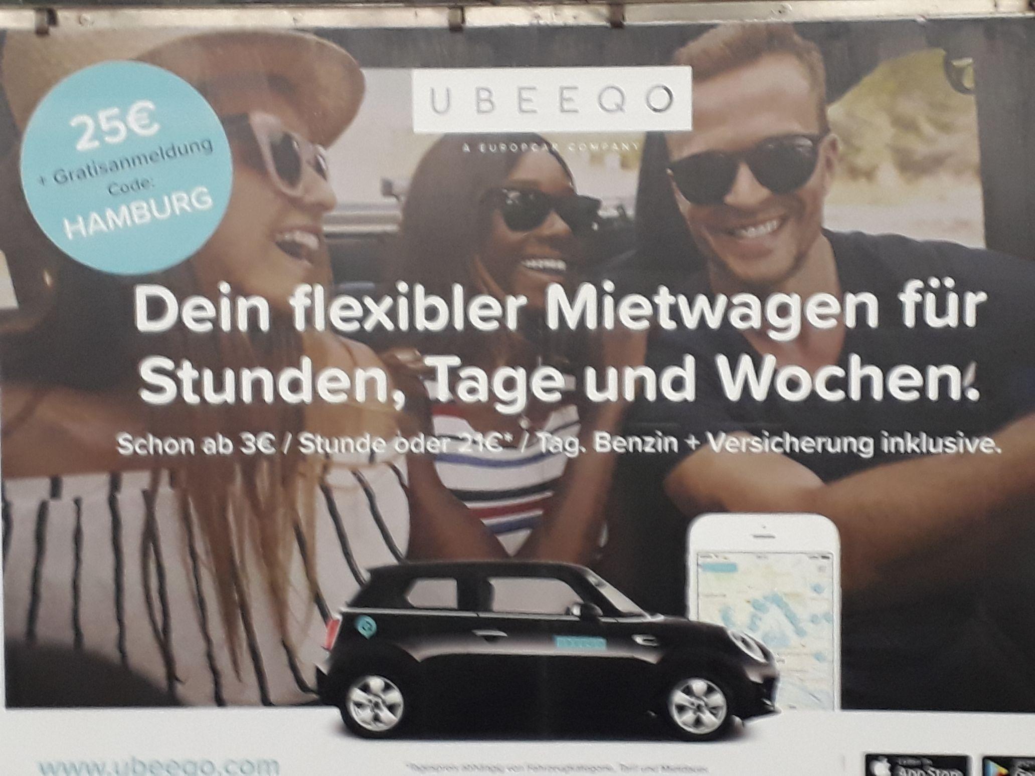 [UBEEQO] 25 EUR Startguthaben und kostenlose Anmeldung für Carsharing (Berlin & Hamburg)