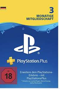[Amazon][PS4] PlayStation Plus 3 Monate PS+