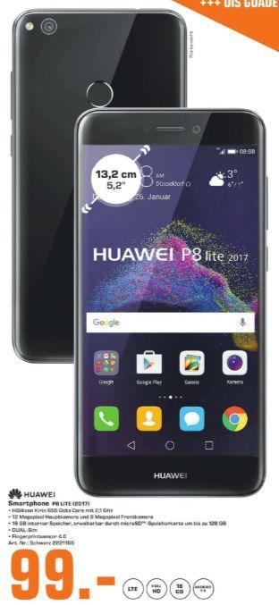 [Regional Saturn München-Alle Märkte] Huawei P8 lite (2017) Smartphone 13,2cm/5,2 Android 7.0 12MP 16GB Dual-SIM (Schwarz) für 99,-€****Galaxy S7 für 279,-€***