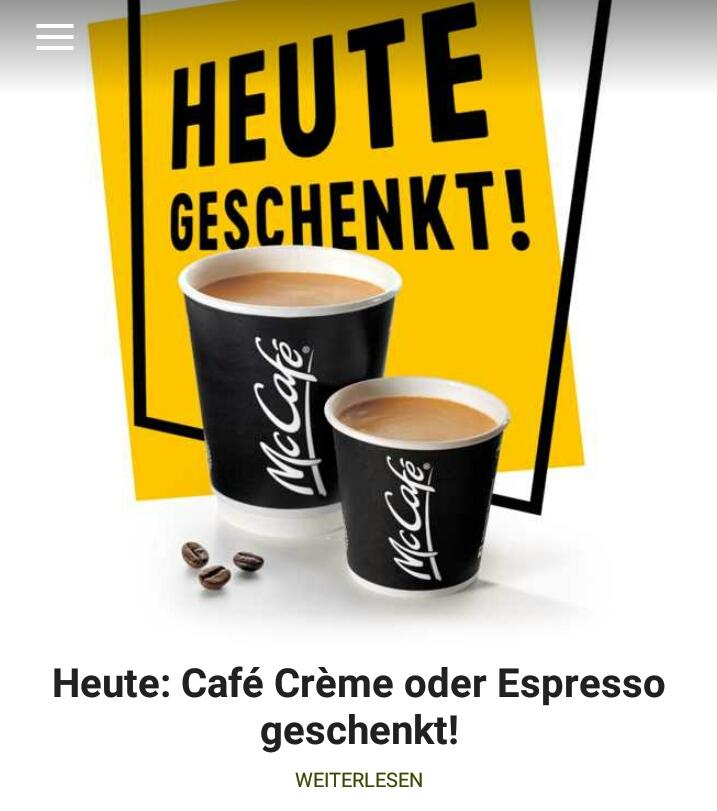 [McDonalds Schweiz/Liechtenstein] Gratis Kaffee oder Espresso am 1. Montag im Monat! +. Hamburger für 1chf