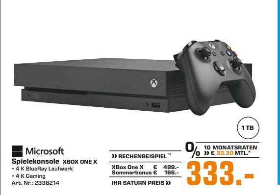 [Regional Saturn Fürth/Nürnberg] Microsoft Xbox One X 1TB schwarz für 333,-€