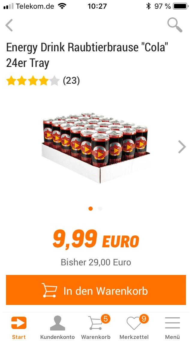 Energiedrink Raubtierbrause  ,,Cola'' 24er Tray