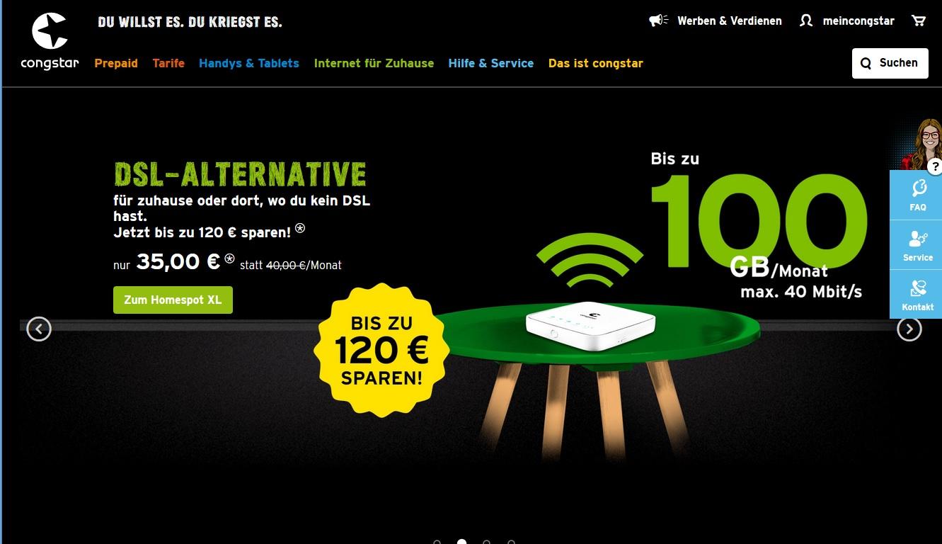 Congstar Homespot XL für 35€ mtl. + 100€ Cashback von Shoop (eff. 35€ für 3 Monate)