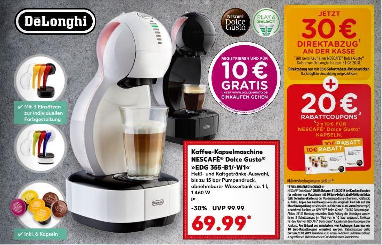 Dolce Gusto Colors Maschine + 20 € Kaffee-Gutschein Kaufland +10 € Online Kaffee-Gutschein