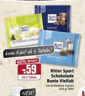 """[Rewe/Edeka regional Ruhrgebiet] Ritter Sport """"Bunte Vielfalt"""" ab 3 (Edeka ab 1) Tafeln für je 0,59€ ab 2.7."""