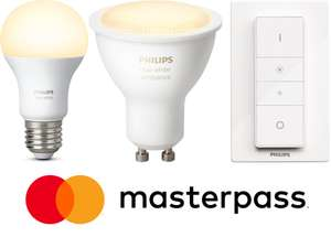 Philips Hue Deals mit Masterpass bei Technikdirekt - 4x E27 white für 40,89€, 2x GU10 white ambiance für 39,99€, 2x Dimmschalter für 31,53€ und 2x LighStripe Plus Erweiterung für 26,85€