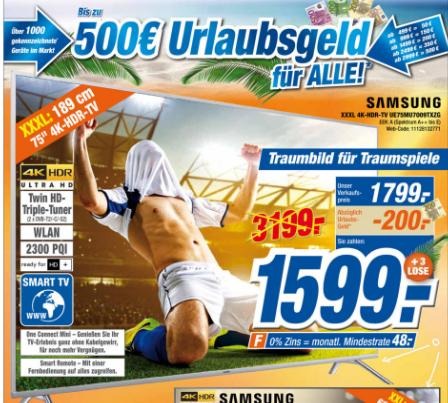 Samsung UE75MU7009TXZG [LOKAL (mehr oder weniger)] Bestpreis!