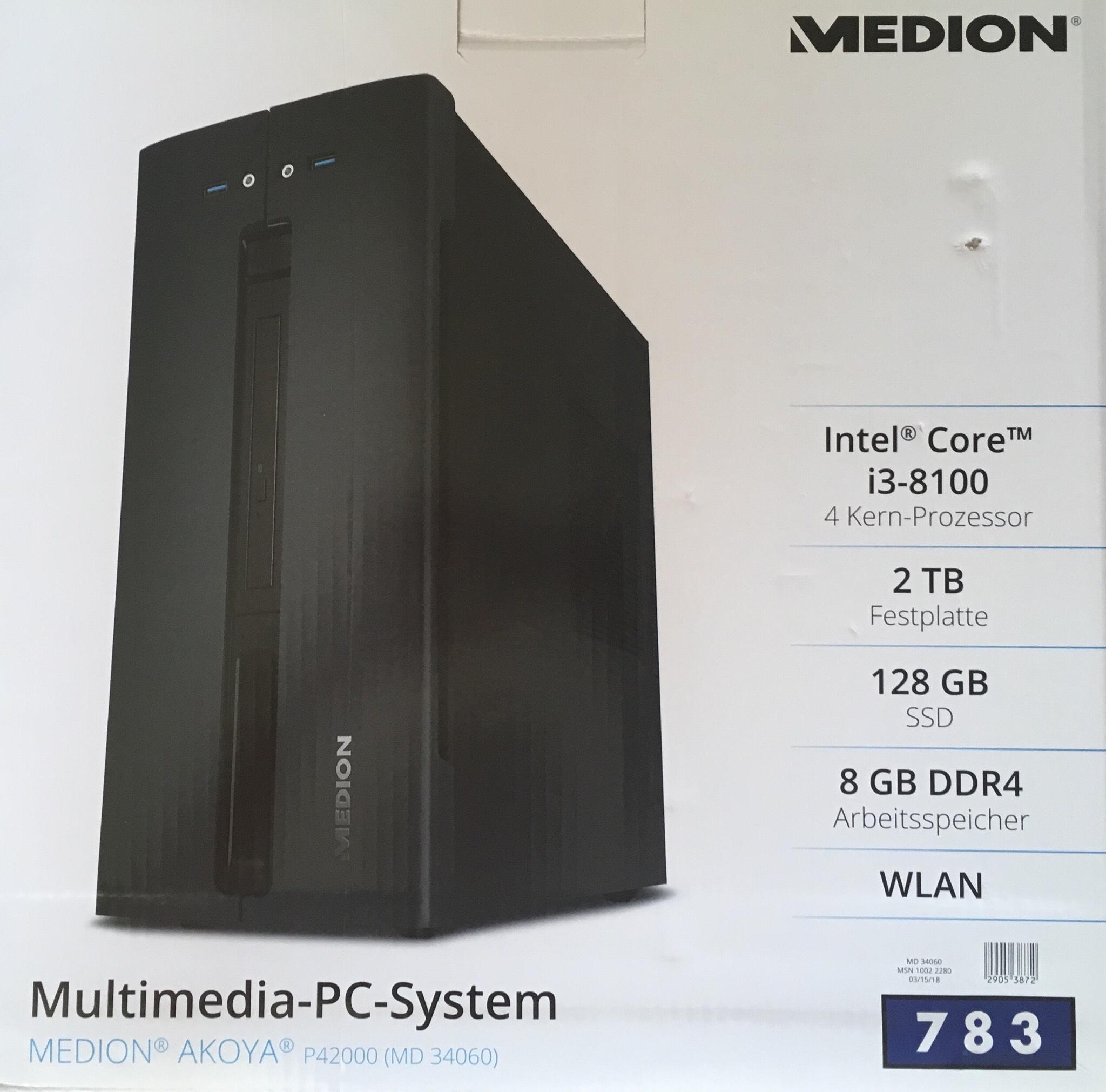 [Lokal ALDI Nord Hannover/ Ahlem] Multimedia-PC-System Medion Akoya, Intel i3, 8GB DDR4, 128GB SSD, 2TB HDD