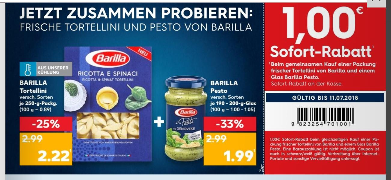 [Kaufland] ab 5.7 Barilla Tortellini und ein Barilla Pesto für 3,21€ via 1€ Coupon