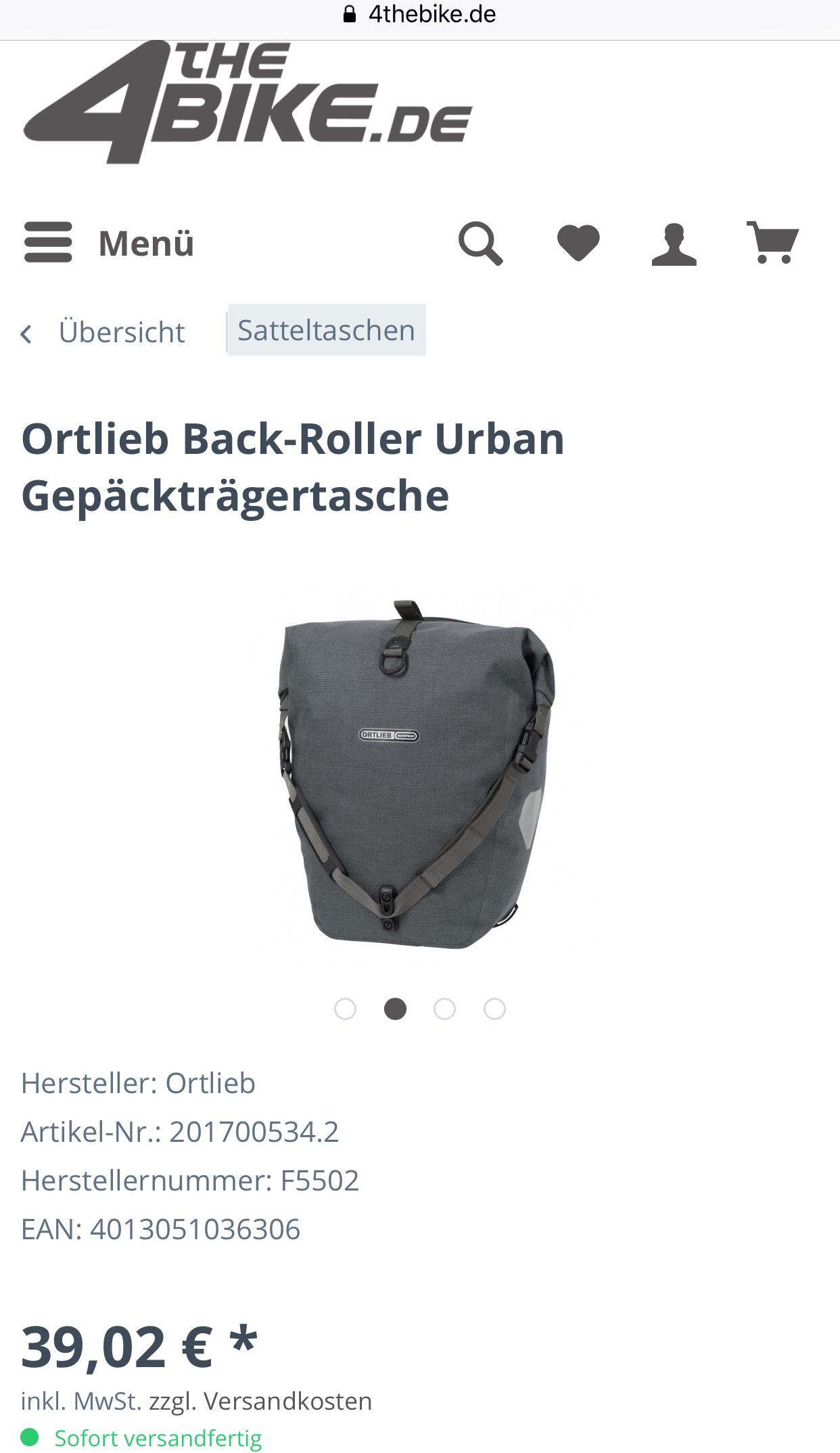 Ortlieb Back-Roller Urban QL2.1 in Pepper Gepäckträgertasche