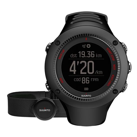 Smartwatch SUUNTO Ambit3 Run black (HR) mit Herzfrequenzgurt & GPS [amazon.it]