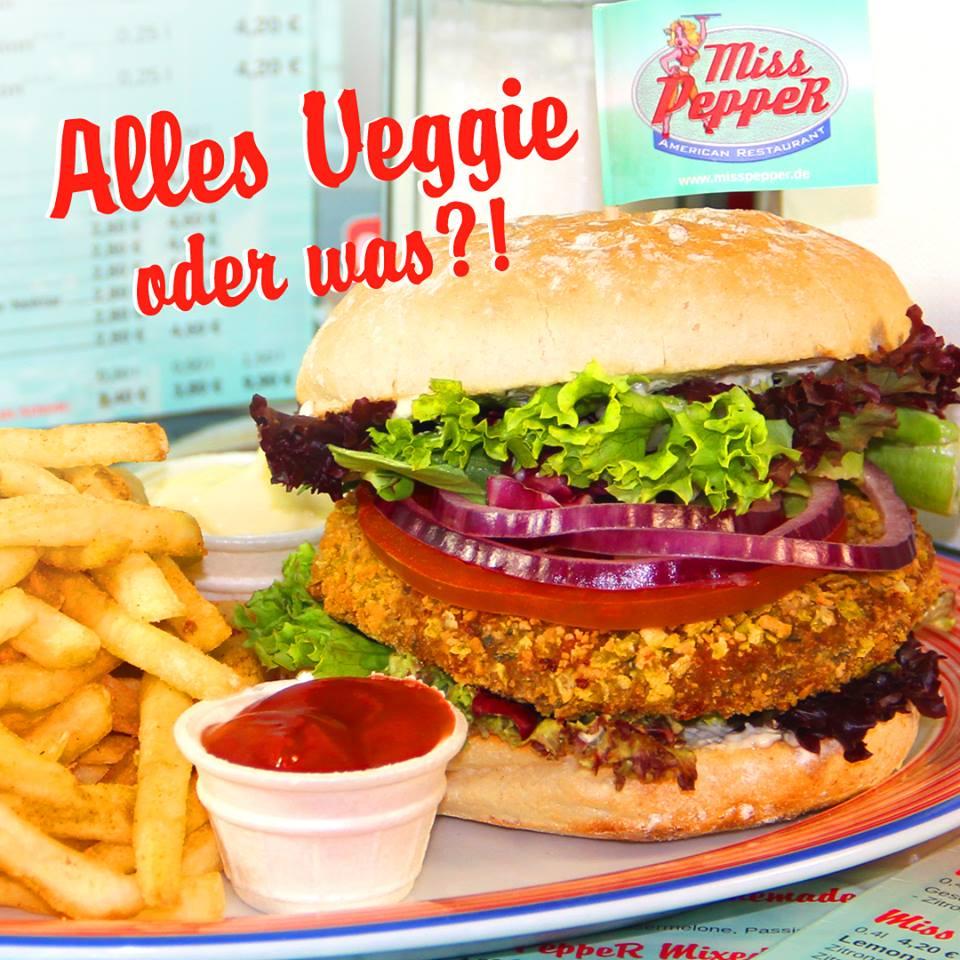 Veggie & Vegan Burger All You Can Eat bei Miss Pepper American Restaurants für 11,90€ am 04.07.18