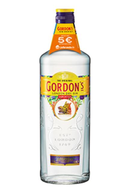 5€ Lieferando Gutschein ohne MBW + eine Flasche Gordon's London Dry Gin 37,5% 0,7l für 9,99€ [Real]