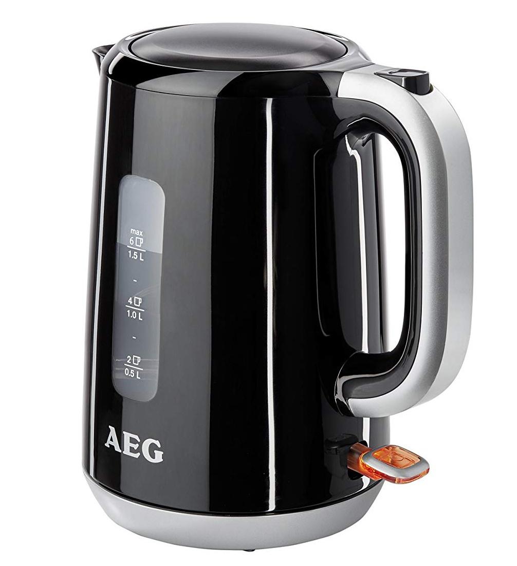 AEG PerfectMorning EWA3700 Express-/Turbo-Wasserkocher (3000 Watt, 1,5 Liter, beidseitige Wasserstandsanzeige, entnehmbarer und abwaschbarer Kalkfilter, tropffreier Ausguss, Abschaltautomatik, BPA-frei) Schwarz