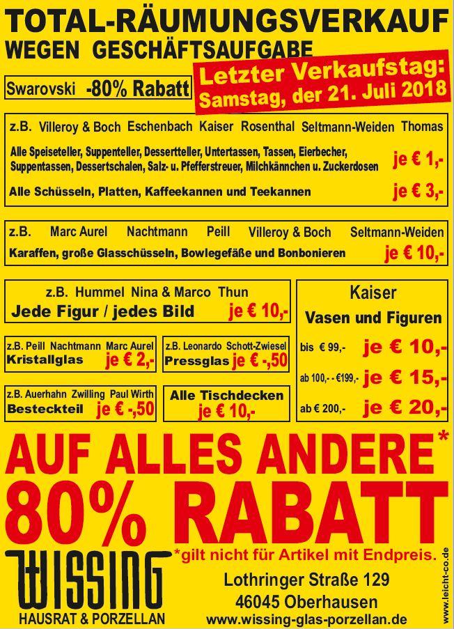 [lokal Oberhausen NRW] Räumungsverkauf bei Wissing - Teller, Tassen etc.für je 1€, Villeroy&Boch, Rosenthal, Eschenbach, 80% auf alles
