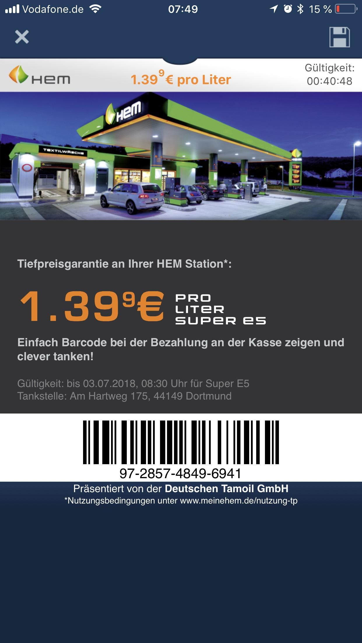 Tanken zum Sonderpreis via clever-tanken app (Super E5 ) in Dortmund