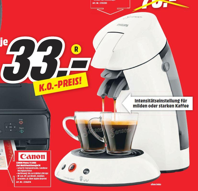 [ Regional Mediamarkt Berlin/Brandenburg-Alle 19 Filialen ab 05.07] Philips Senseo Original HD6554/10, Padmaschine weiß für 33,-€