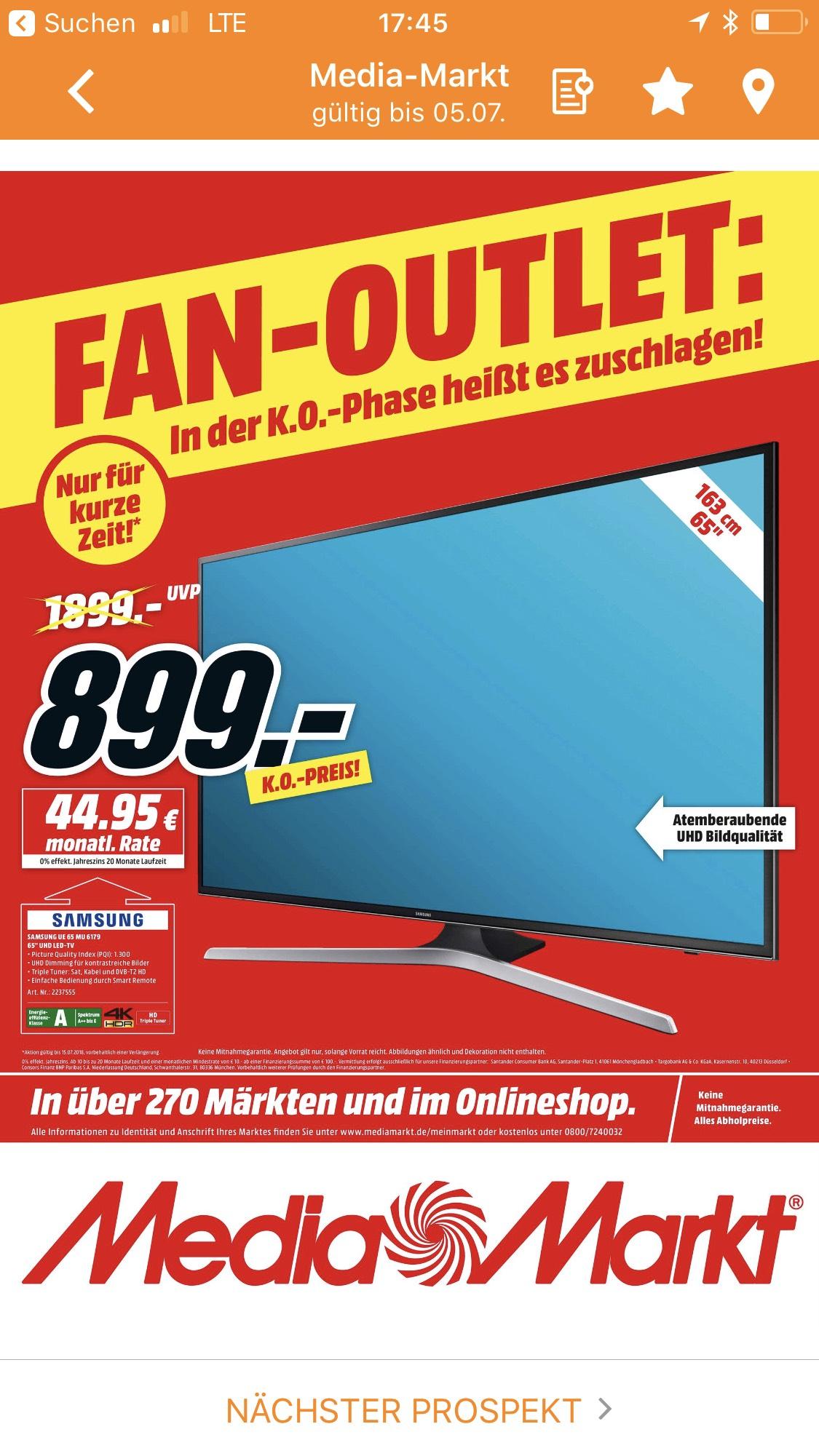 Samsung UE65MU6179 / Media Markt / Online & Bundesweit