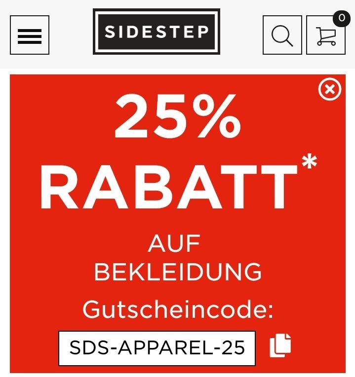 25% Rabatt bei Sidestep auf Bekleidung