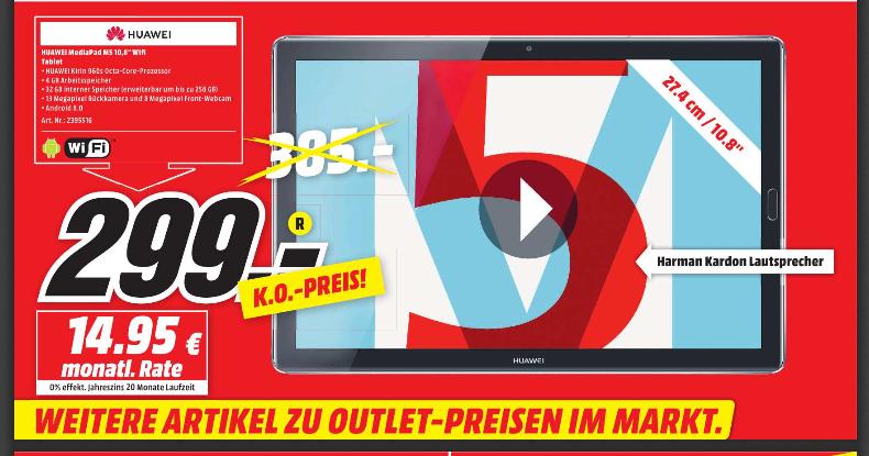 [Lokal] HUAWEI MediaPad M5 10.8 Zoll (2560x1600) Tablet Space Grey (Wifi, 4GB RAM, 32GB interner Speicher, OctaCore Prozessor, Android 8.0) [Media Markt Bochum / Castrop-Rauxel]