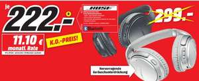 [Regional Mediamarkt Bochum/Castrop-Rauxel] BOSE Quietcomfort 35 II, Over-ear Kopfhörer beide Farben für je 222,-€