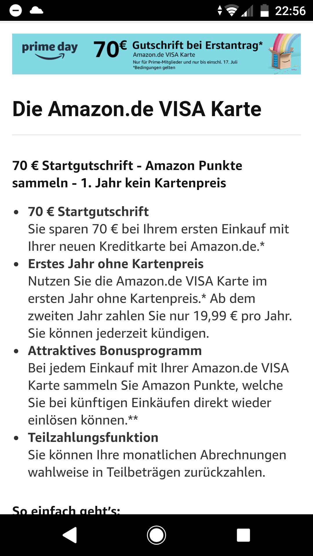 [prime] Amazon Visa mit 70 € Startguthaben für Neukunden