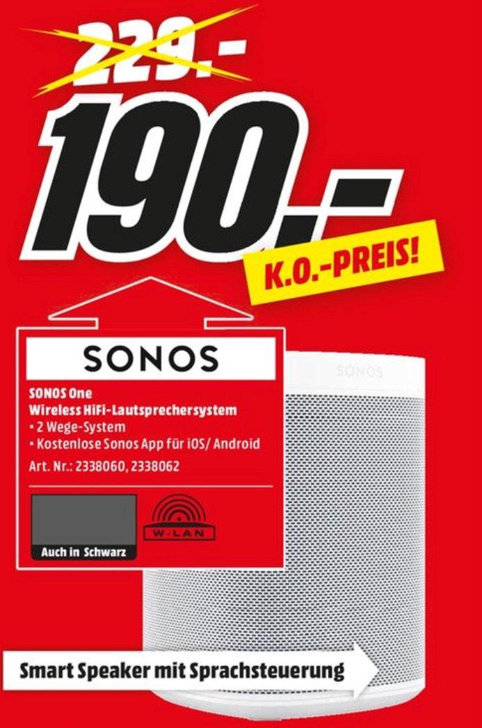 SONOS One (Alexa), WLAN Lautsprecher, schwarz oder weiß [Lokal, Media Markt Gütersloh]
