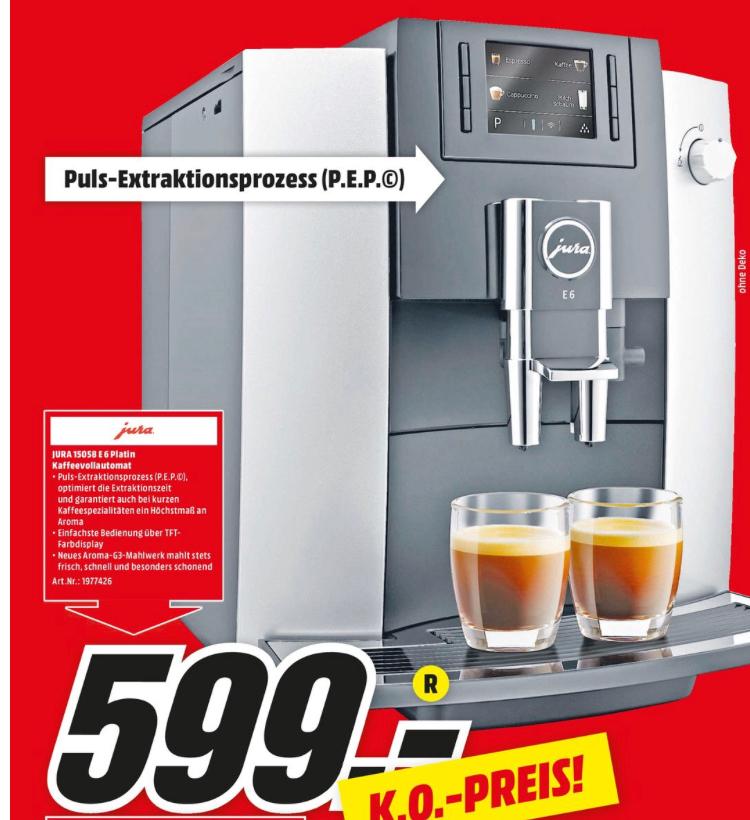 Jura E6 Platin (15058) Kaffeevollautomat [Lokal Media Markt Dortmund]