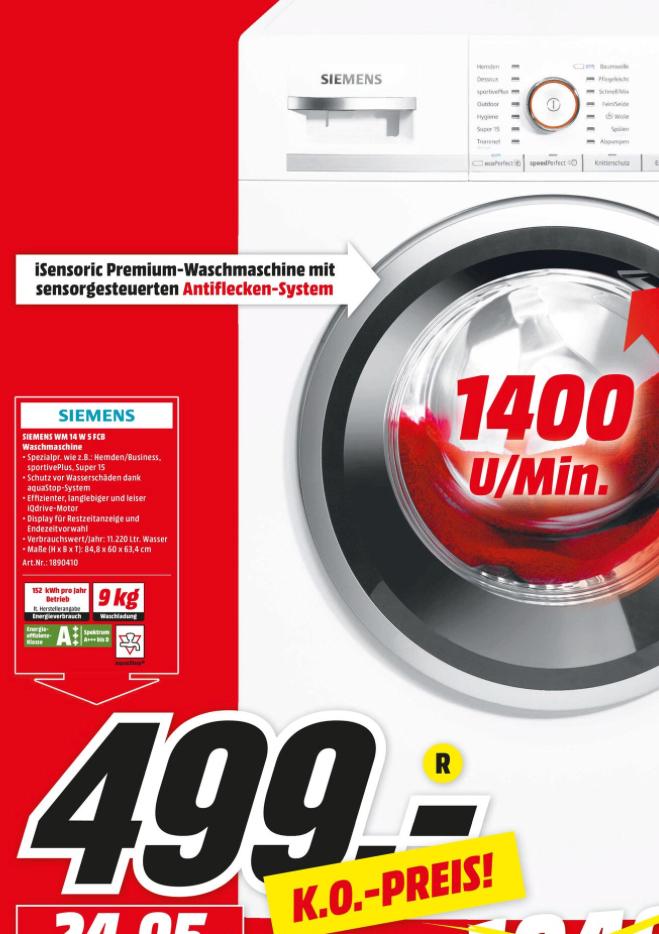 Siemens WM14W5FCB IQ700, 9 KG Waschmaschine, Frontlader, 1361 U/MIN.[Lokal Dortmund Media Markt]