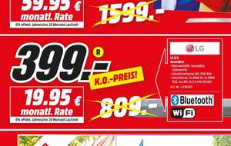 [Lokal Bonn+Bornheim] Mediamarkt Fan Outlet LG SJ9 Soundbar mit Subwoofer