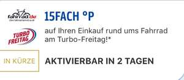 15Fach Payback Punkte bei Fahrrad.de am 6.7