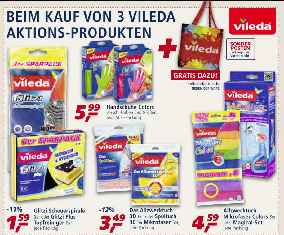 [Scondoo] 5€ Rabatt bei gleichzeitigem Kauf von mindestens 3 Vileda Produkten (Mindestwert 20€)