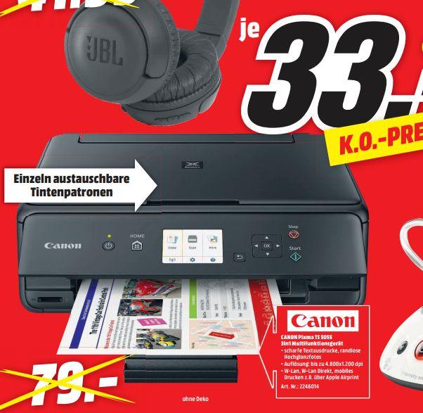 [Regional Mediamarkt Berlin/Brandenburg-Alle 19 Filialen ab 05.07] CANON PIXMA TS5055, 3-in-1 Tinten-Multifunktionsdrucker, Schwarz für 33,-€ nach Abzug von Cashback von Canon effekt, für 13,-€