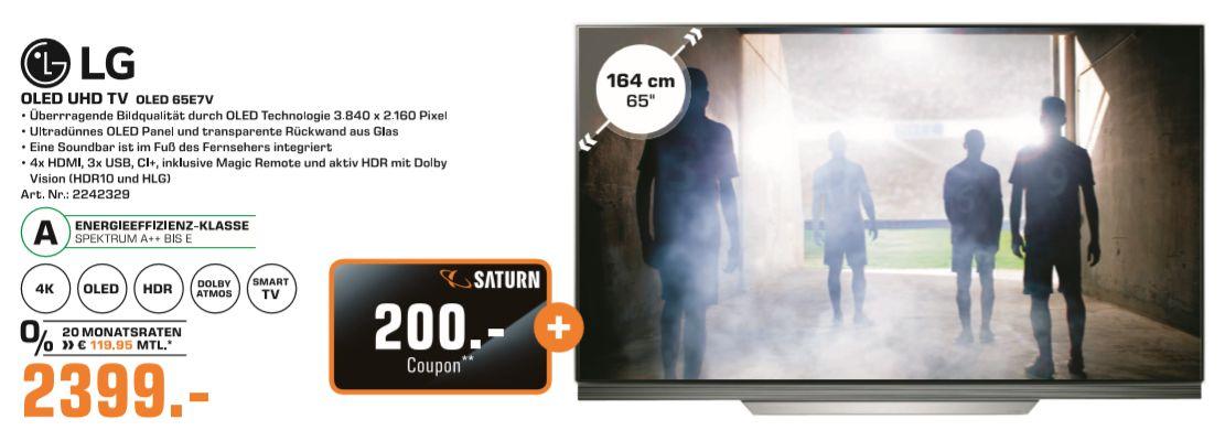 [Regional Saturn Berlin/Potsdam ab 05.07] Für verschiedene Aktionsprodukte Coupon erhalten. ZB. LG OLED65E7V (65 Zoll) OLED Fernseher (Ultra HD, Doppelter Triple Tuner, Active HDR mit Dolby Vision, Dolby Atmos, Smart TV)für 2399,-€ + 200,-€ Coupon