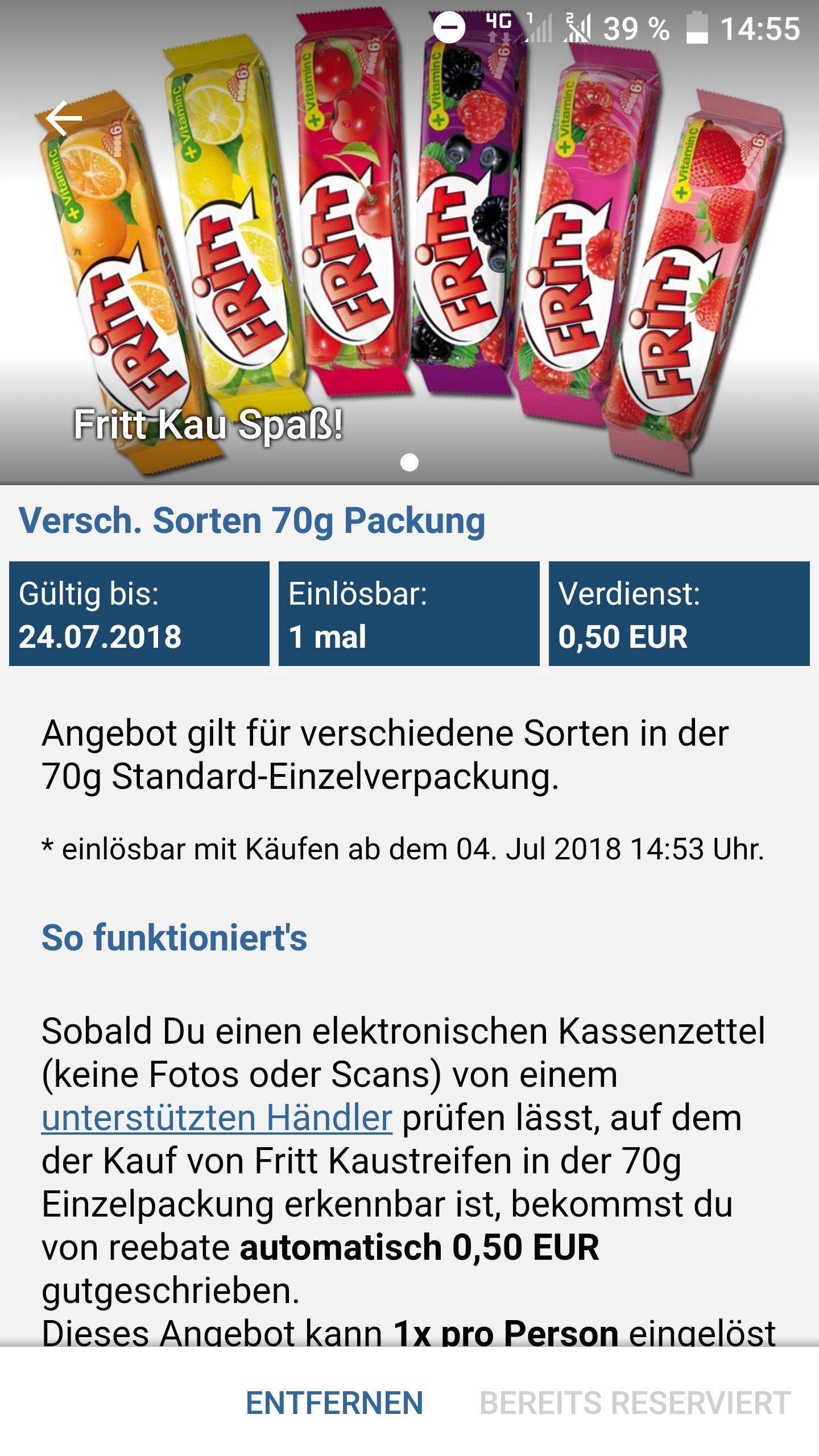 Reebate / Rewe kostenloses Fritt Kau Spaß - Freebie