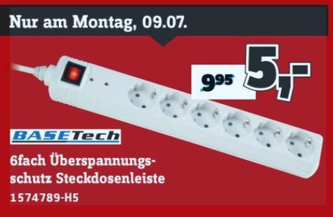 Basetech Überspannungsschutz-Steckdosenleiste 6fach für 5€ am 09.07. und Makita P-73374 Bit-Set 31teilig für 8€ am 13.07. bei Conrad Filialen