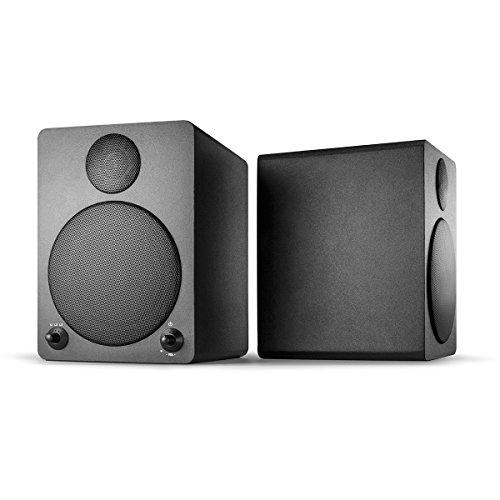 [Amazon oder Real] Wavemaster Cube black Regal-Lautsprecher-System (50 Watt) mit Bluetooth-Streaming Aktiv-Boxen Nutzung für TV/Tablet/Smartphone schwarz (66320)